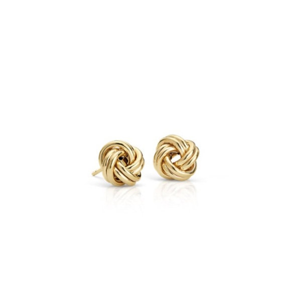 rope knot love earrings gold rose polished
